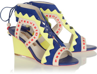 Webster Sophia Raya cutout leather and suede wedge sandals