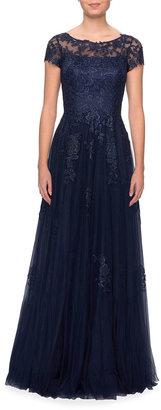 La Femme Lace Applique Tulle A-Line Gown