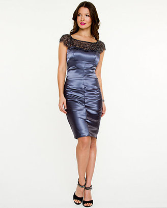 Le Château Sequin Satin Illusion Dress