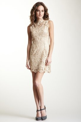 Gracia Mandarin Collar Sleeveless Lace Dress
