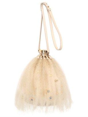 Leather Head Shoulder Bag W/ Human Hair