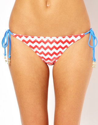 South Beach Chevron Print String Bikini Bottom With Gold Charms - Pink