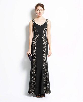 Ann Taylor Petite Lace Inset Gown