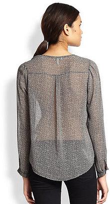 Joie Aurelia Basket-Print Silk Blouse
