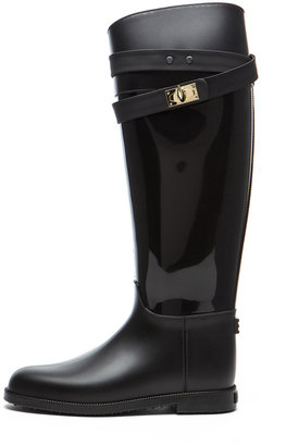 Givenchy Rider Shark Lock Rubber Rain Boot in Black
