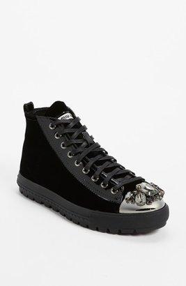 Miu Miu Jeweled Toe Velvet Sneaker