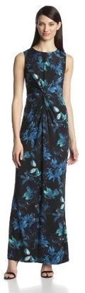 Vince Camuto Women's Knot-Front Printed Maxi Dress