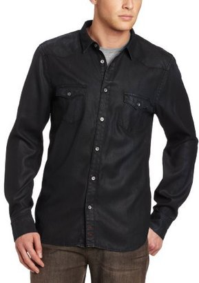 7 For All Mankind Men's Coated Denim Western Shirt