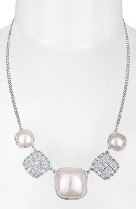 Majorica 'Graphic Contrast' Mabe Pearl & Cubic Zirconia Necklace Silver/ White Pearl