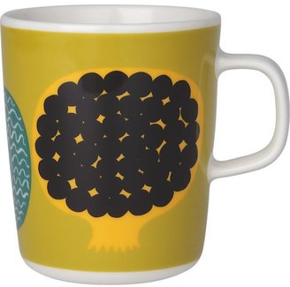 Marimekko Kompotti Green and Multi Mug. 8 oz.