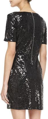 Ella Moss Claudia Short-Sleeve Sequined Dress