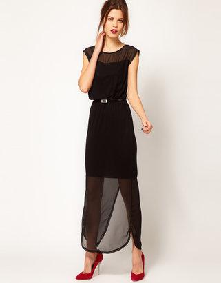 Warehouse Chiffon Hem Maxi Dress