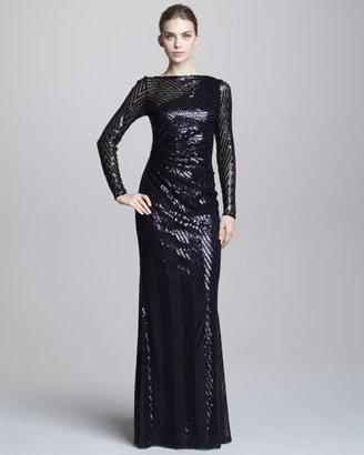 David Meister Chevron-Sequin Gown