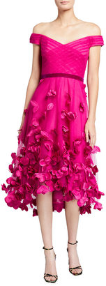 Marchesa Notte Off-the-Shoulder Draped High-Low Dress w/ 3D Flowers