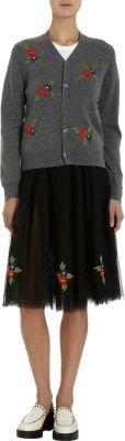 Comme des Garcons Floral-Embroidered Cardigan