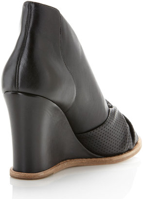 Belle by Sigerson Morrison Knotted Peep-Toe Wedge, Black