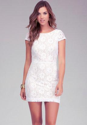 Bebe Crisscross Back Lace Dress