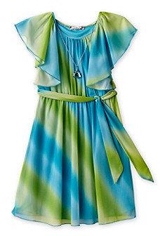 Speechless Girls' 7-16 Aqua Dipdye Flutter Sleeve Dress with Belt