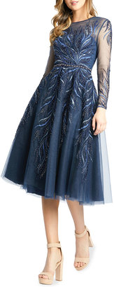 Mac Duggal Long-Sleeve Embroidered Illusion Dress