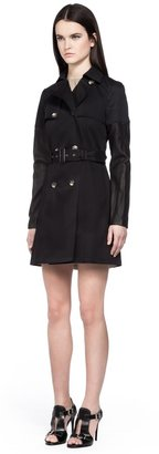 Mackage Inessa Black Trench Coat With Leather Sleeves