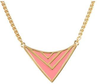Vince Camuto Chevron Enamel Neclace (Neon Salmon/Gold) - Jewelry