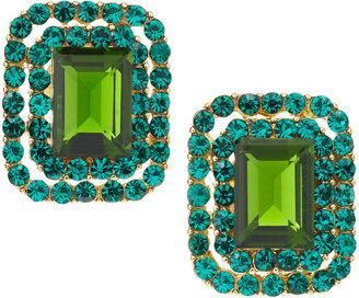 Greenbeads Pave-Set Faceted Stone Clip-On Earrings, Green