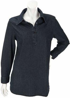Denim & Co. Petite Stretch Denim Long Sleeve Shirt