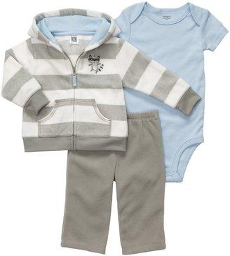 Carter's Micro Fleece 3 Pc Cardigan & Pant Set