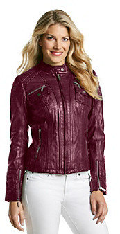 MICHAEL Michael Kors Front Zip Leather Scuba Jacket With Quilted Accents