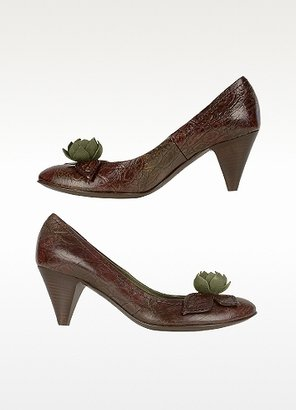 Alberto Gozzi Dark Brown Flower Croco-embossed Pump Shoes