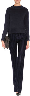 Moschino Wool Flared Pinstriped Pants