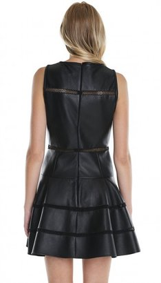 Tibi Aria Leather Flirty Dress
