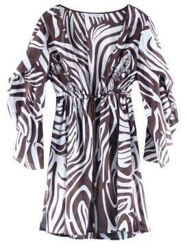 Diane von Furstenberg Leo Cover-Up in Zebra Camoflage Chocolate
