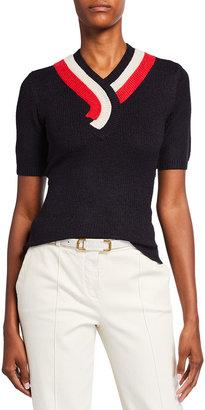 Victoria Victoria Beckham Contrast V-Neck Short-Sleeve Sweater
