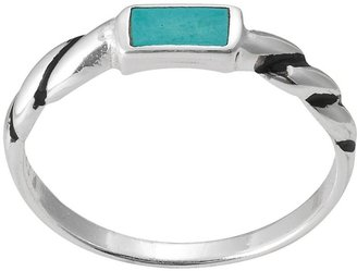 Sterling silver simulated turquoise twist ring