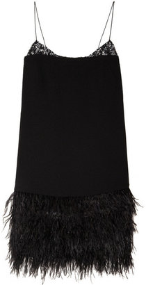 By Malene Birger Wasuinia feather and sequin-embellished crepe dress