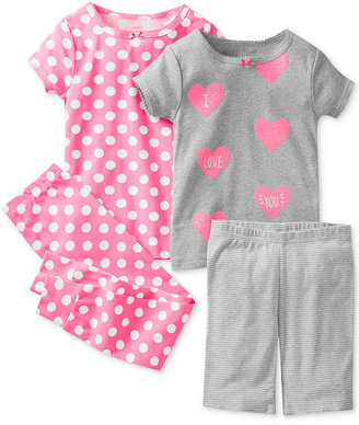 Carter's Little Girls' 4-Piece Fitted Cotton Pajamas