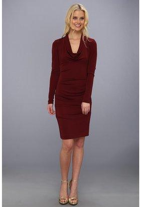 Nicole Miller Matte Jersey Cowl Neck Dress (Wine) - Apparel