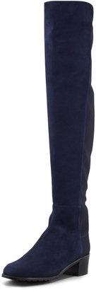 Stuart Weitzman Reserve Suede Stretch Over-the-Knee Boot, Nice Blue (Made to Order)