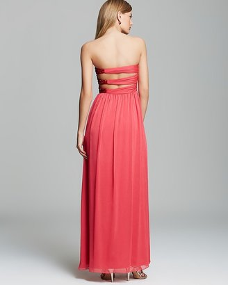 Aqua Gown - Sweetheart Neck Cutout Back Strapless