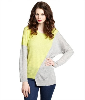 Qi heather grey and neon lime cashmere 'Natasha' asymmetrical sweater