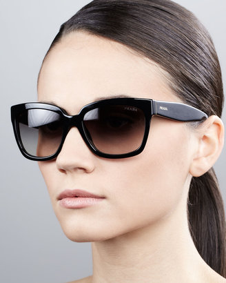 Prada Black Rectangle Sunglasses, Black