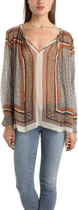 L'Agence Tie Neck Blouse in Scarf Print