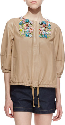 RED Valentino Shiny Napa Leather Jacket with Flower Appliques, Natural
