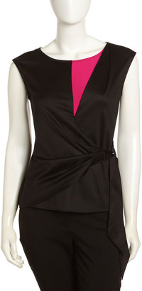 Lafayette 148 New York Sateen Wrap-Front Top, Black/Fuchsia