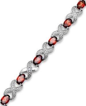 Macy's Garnet (7-1/2 ct. t.w.) and Diamond Accent Xo Bracelet in Sterling Silver