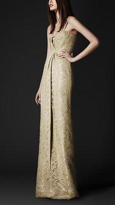 Burberry Floor-Length Lace Bustier Dress