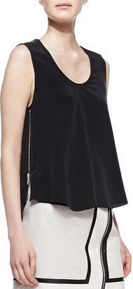 Richard Chai Andrew Marc x Trapeze Silk and Leather Tank