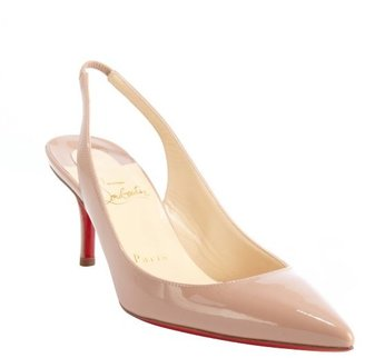 Christian Louboutin nude patent leather 'Apostrophy Sling 70' pointed toe slingback pumps