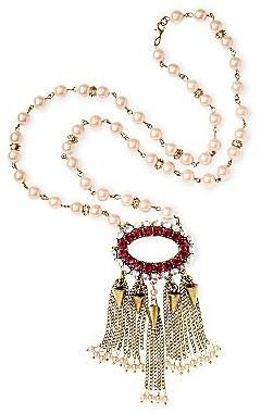 JCPenney Duro Olowu for jcp Embellished Crystal & Faux Pearl Long Statement Necklace
